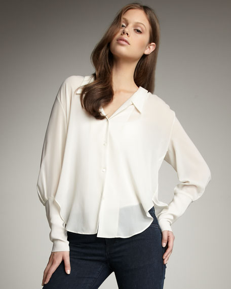 Button-Front Shirt, White