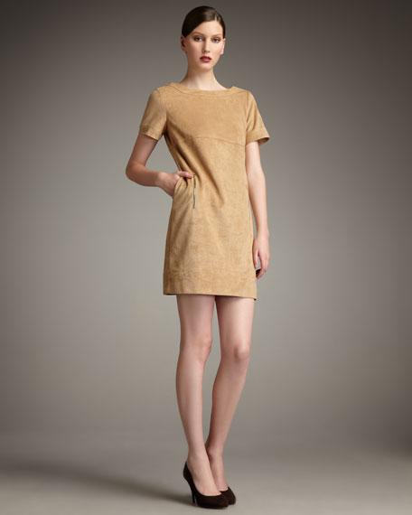 Sueded Zip-Detail Dress, Women's