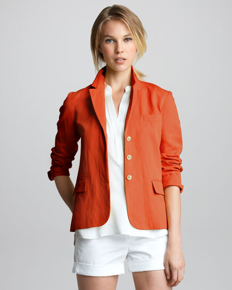 Twill Three-Button Blazer