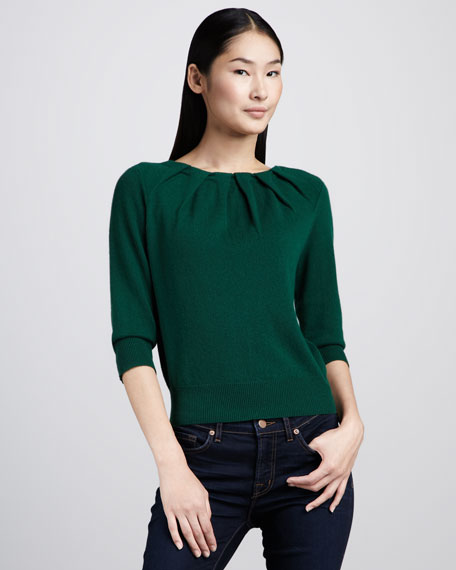Pleated-Neck Cashmere Sweater