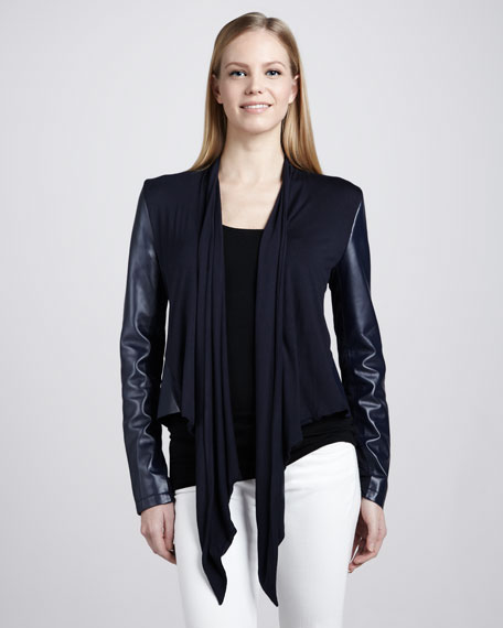 Waterfall Drape-Front Leather Jacket