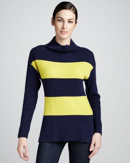 Striped Ribbed Cashmere Turtleneck