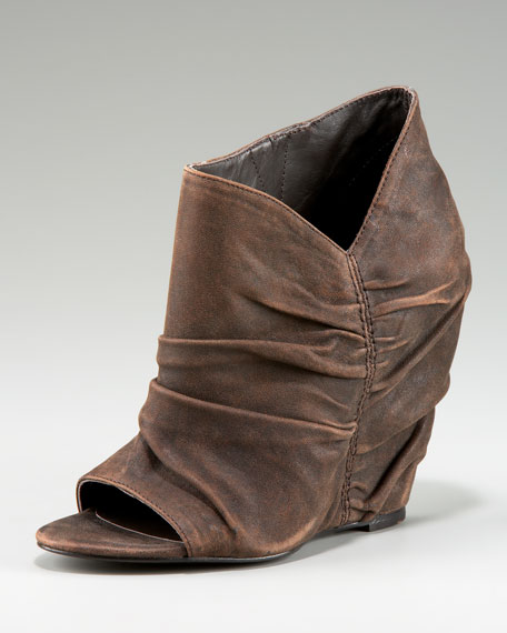 Ruched Peep-Toe Wedge Bootie