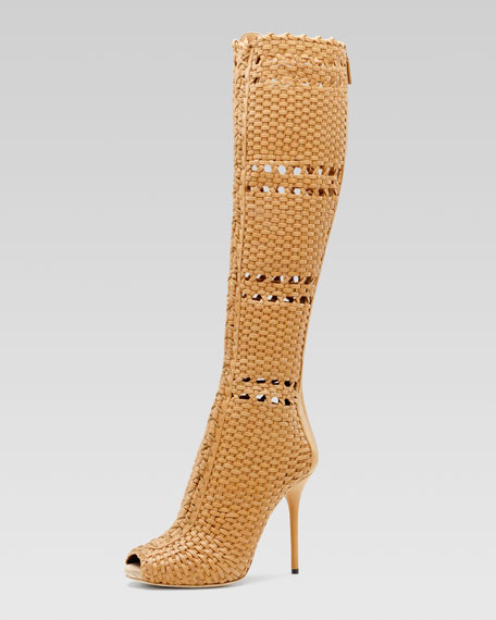 WOVEN LEATHER PT TALL BOOT