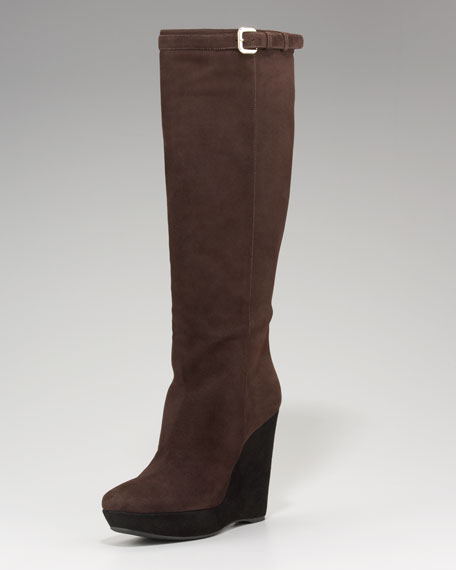Prada Tall Bi-Color Wedge Boot