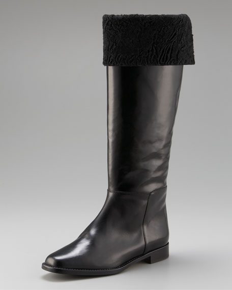 Astrakhan-Cuffed Riding Boot