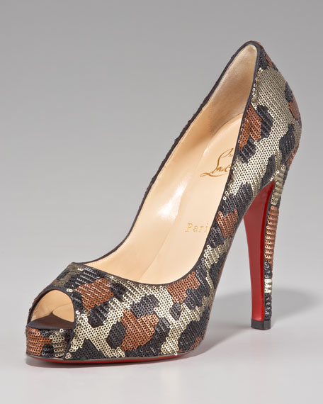 louboutin studded mens shoes - Christian Louboutin Leopard-Sequin Pump