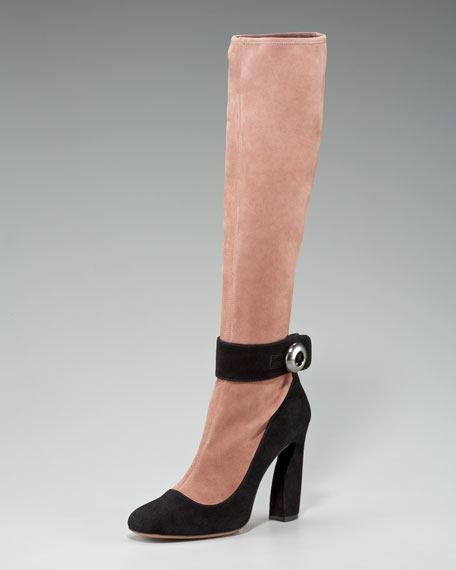 Bi-Color Suede Ankle-Strap Boot