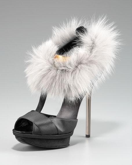 Fur-Ankle T-Strap Sandal