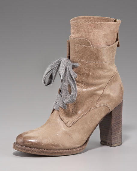 Back-Zip Lace-Up Ankle Boot