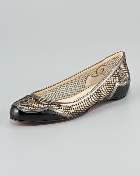Lady Bombay Red Sole Flat, Black/Pewter