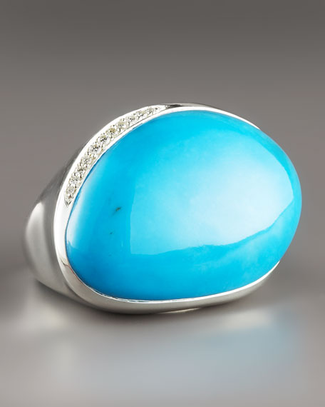 Scultura Turquoise Bean Ring with Diamonds