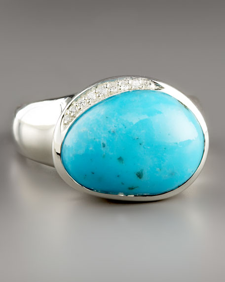 Scultura Pebble Ring with Diamonds, Turquoise