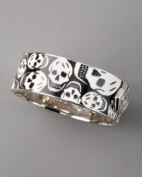 Medium Enamel Skull Bracelet, Black/White