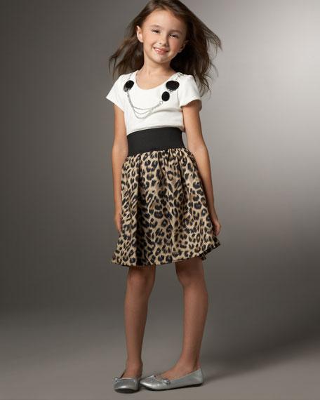 Leopard Elastic-Waist Combo Dress