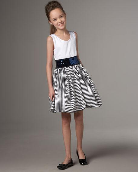 Stripe-Skirt Dress