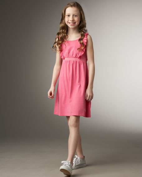 Smocked Ruffle-Shoulder Dress
