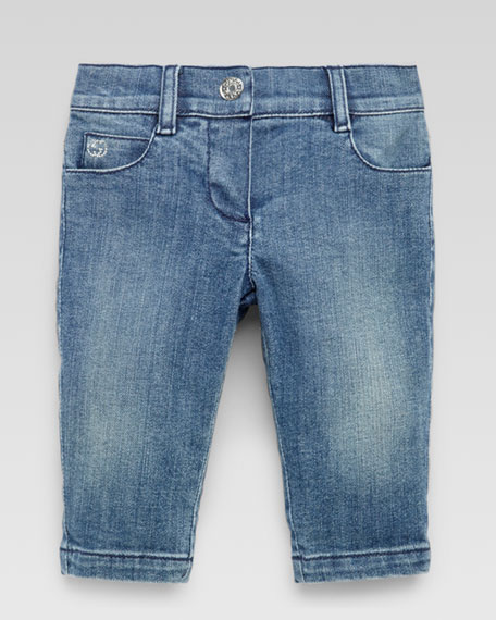 Washed Denim Pants, Powder Blue