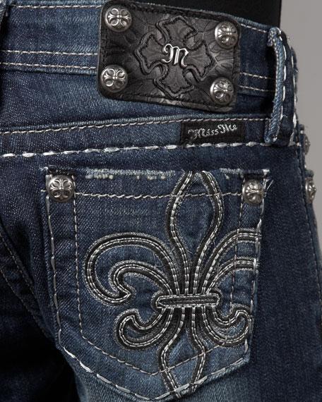 Boot-Cut Fleur-de-Lis Jeans