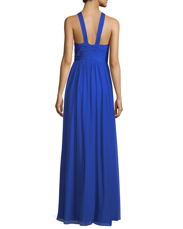 Aidan Mattox Pleated Silk Chiffon Halter-Neck Gown | Neiman Marcus