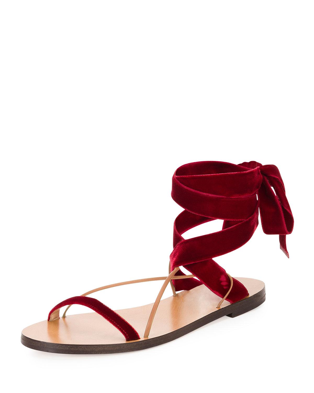 e45944d2aefec8 Valentino Garavani Velvet Lace-Up Flat Sandal