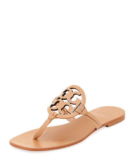 f332a01fa8ced9 Tory Burch Miller Square-Toe Flat Leather Thong Sandal