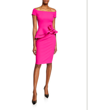 205b0697 Chiara Boni La Petite Robe Lady Cap-Sleeve Peplum Cocktail Dress