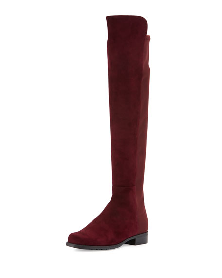 50/50 Suede Over-the-Knee Boot, Bordeaux