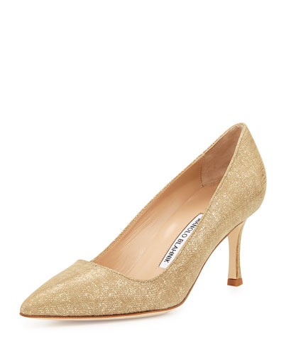 1ac7676fe1e6a Manolo Blahnik BB Suede 70mm Pump, Natural Gold (Made to Order)