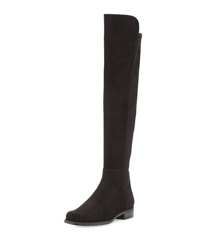 50/50 Suede Over-the-Knee Boot, Black