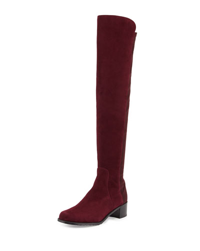 Stuart Weitzman Reserve Suede Over-the-Knee Boot, Bordeaux