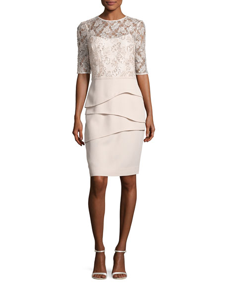 Lace & Crepe Sheath Dress