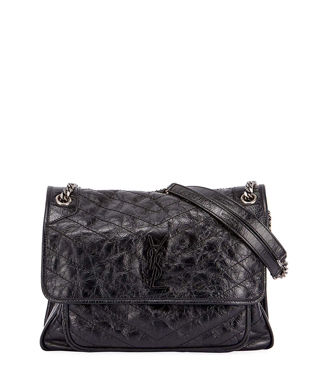 67afdfa95e Saint Laurent Niki Medium Monogram YSL Shiny Waxy Quilted Shoulder Bag |  Neiman Marcus