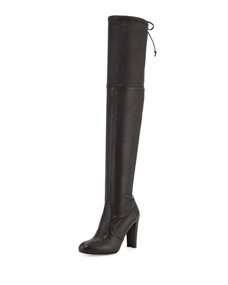 Stuart Weitzman Highland Leather Over-The-Knee Boot, Nero