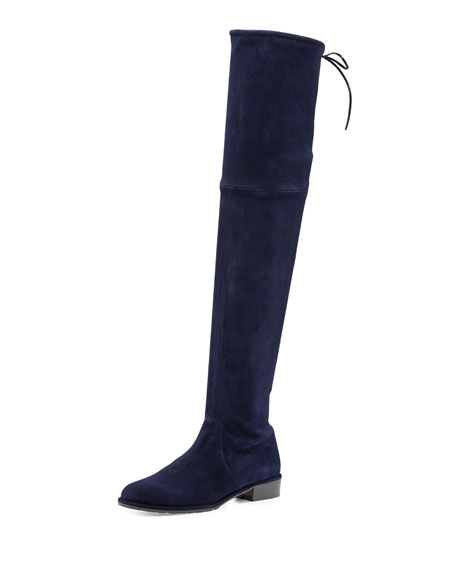 Stuart Weitzman Lowland Suede Over-The-Knee Boot, Nice Blue