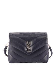 Saint Laurent Loulou Monogram Ysl Mini V Flap Calf Leather Crossbody Bag   Nickel Oxide Hardware by Saint Laurent
