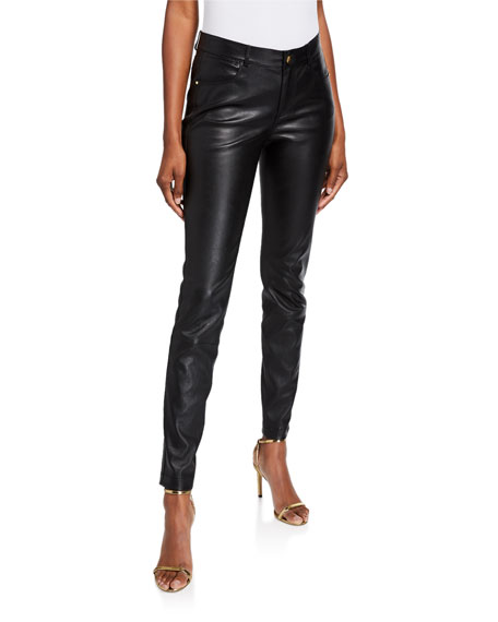 Lafayette 148 New York Mercer Mid-Rise Leather Skinny