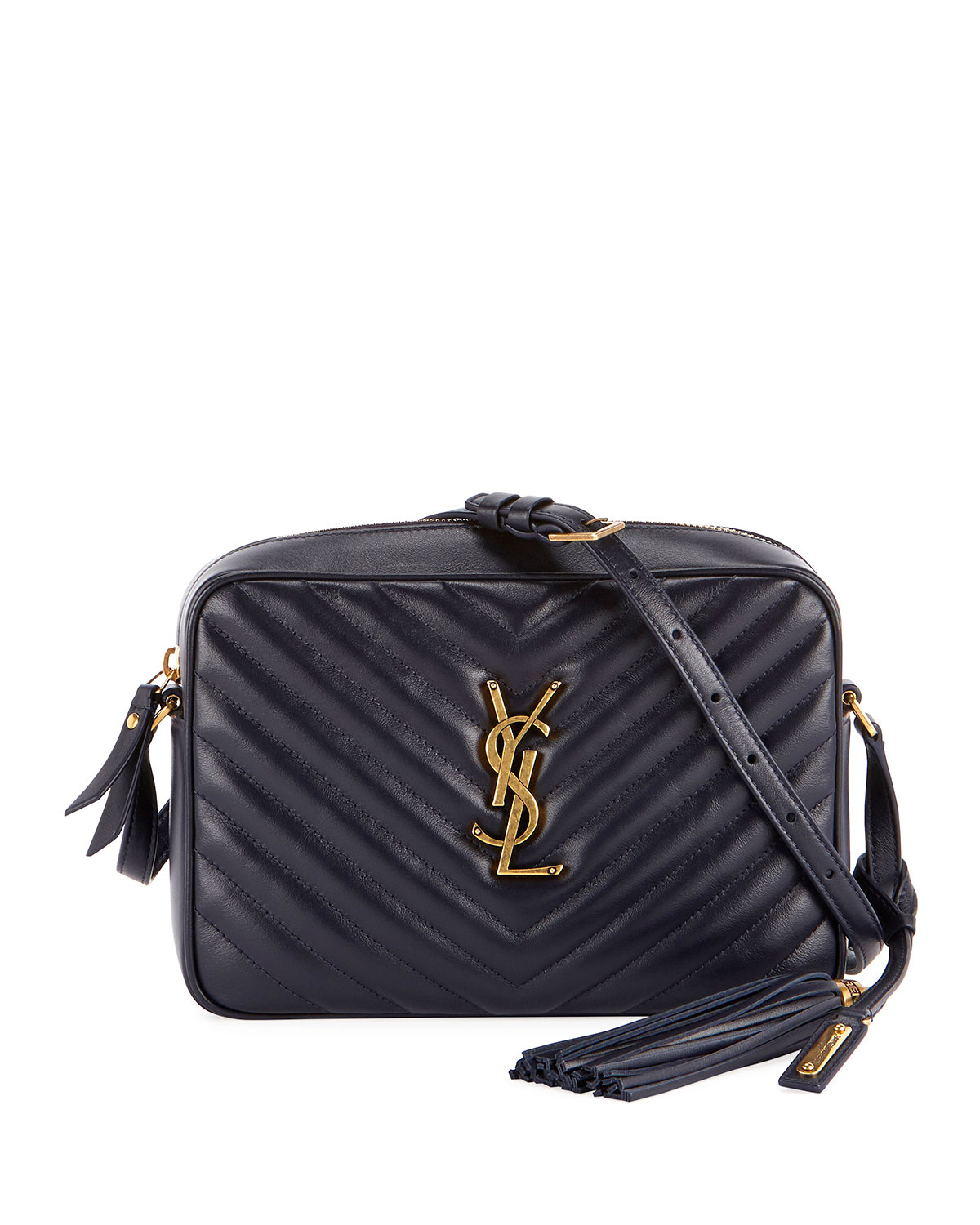 d4d3e33bf Saint Laurent Loulou Monogram YSL Medium Chevron Quilted Leather Camera Shoulder  Bag - Brilliant Golden Hardware