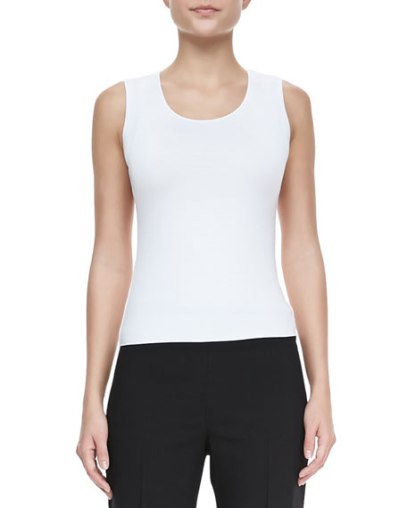 Armani Collezioni Scoop-Neck Stretch-Jersey Tank, White