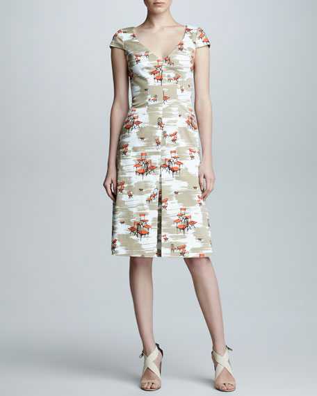 Carolina Herrera Chair-Print Cap-Sleeve Dress, Tan/White