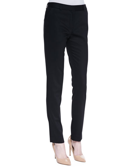 Flat Front Fitted Pants, Black