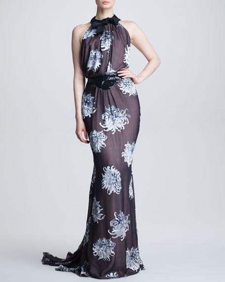 Dahlia Devore Silk Gown, Black/Blue/Multicolor