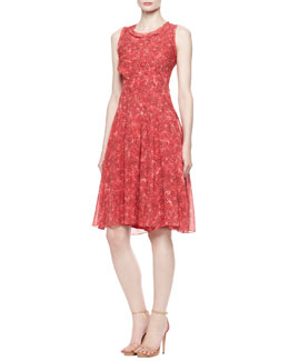 Oscar de la Renta Printed A-Line Silk Chiffon Dress