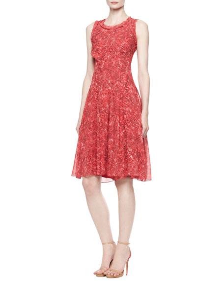 Printed A-Line Silk Chiffon Dress