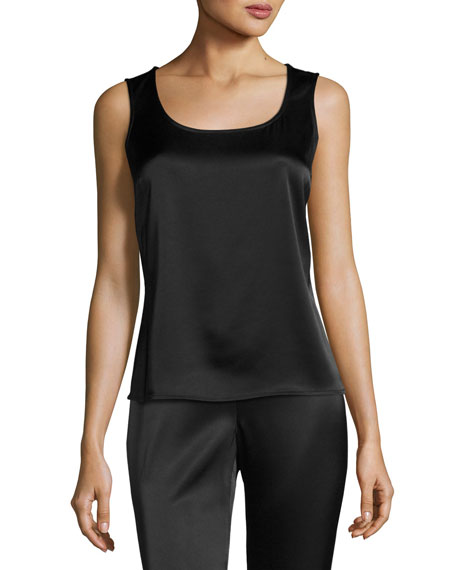 Scoop-Neck Satin Tank, Caviar