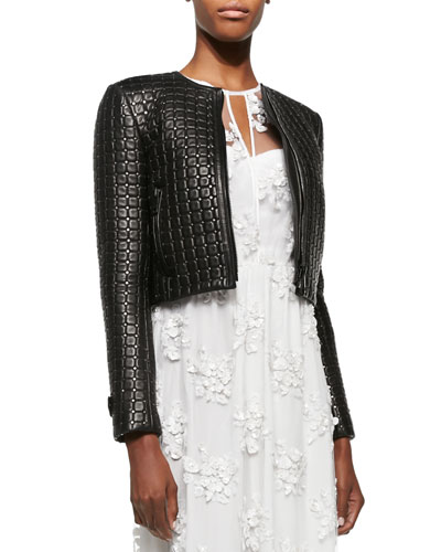 Studded Quilted Leather Jacket, Black