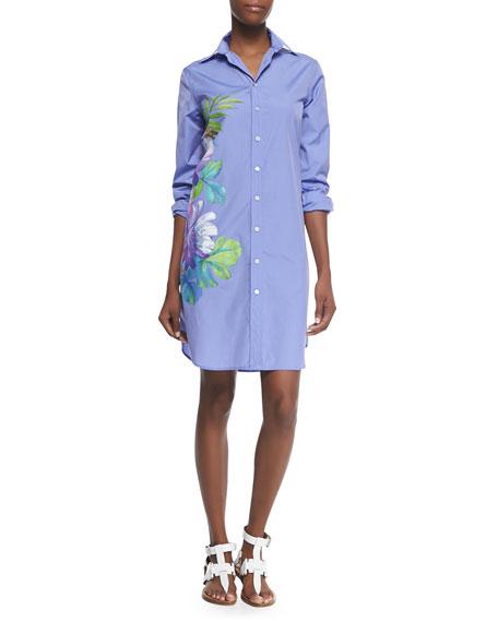 Ralph Lauren Black Label Clancy Floral-Print Shirtdress, Light Blue