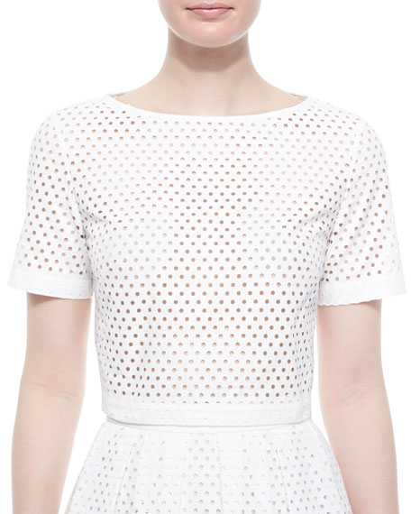 Lela Rose Mesh Short-Sleeve Crop Top, White