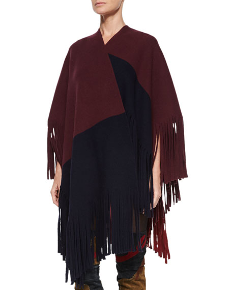 Burberry Brit Colorblock Poncho W/Fringe Trim, Deep Claret