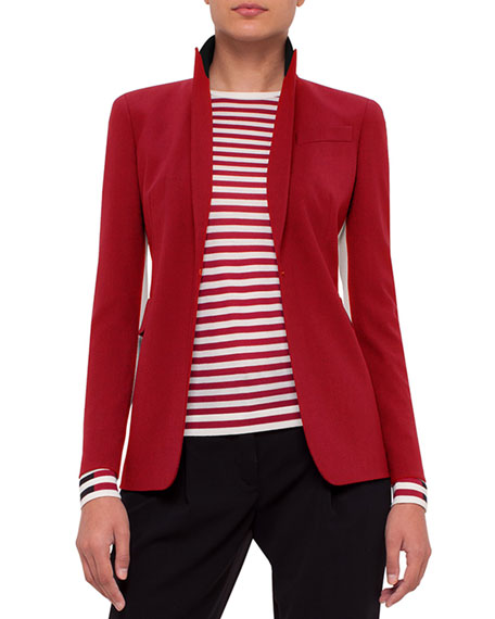 Single-Breasted Wool-Blend Jacket, Sport Red/Cream